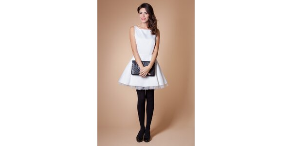 Dámske biele koktejlové šaty Poete s tylovou spodničkou
