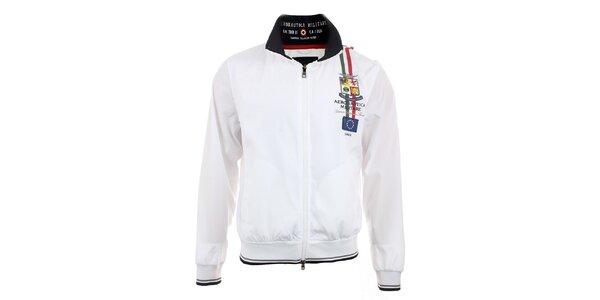 Pánska biela ľahká bunda na zips Aeronautica Militare