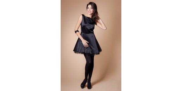 Dámske čierne koktejlové šaty Poete s tylovou spodničkou