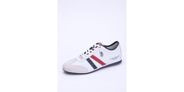 Pánske biele kožené tenisky s červenými detailmi U.S. Polo
