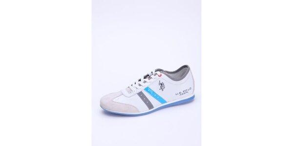 Pánske biele kožené tenisky s modrým detailom U.S. Polo