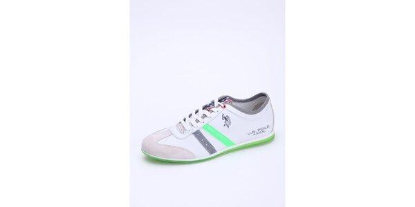 Pánske biele kožené tenisky so zeleným detailom U.S. Polo