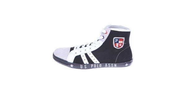 30c0690333d0 Pánske čierno-biele plátené členkové tenisky U.S. Polo