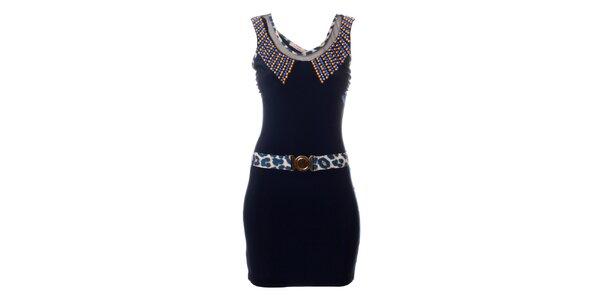 Dámske tmavo modré šaty Via Bellucci s korálkovým límcom