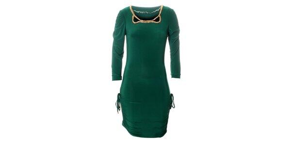 Dámske tmavo zelené šaty Via Bellucci so zlatými korálkami