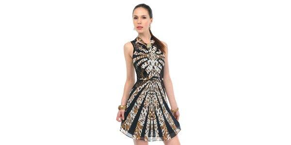 Dámske čierno-hnedé leopardie šaty Via Bellucci