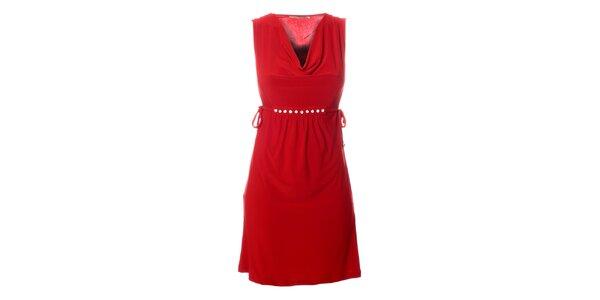 Dámske červené šaty Via Bellucci s korálkami