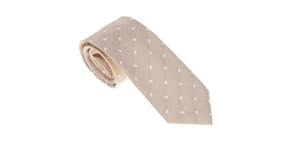 Luxusná béžová kravata s detailami Castellet Barcelona