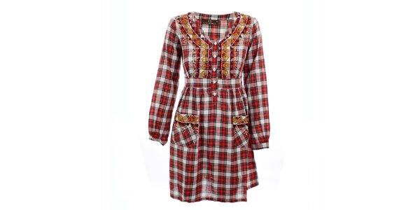 Dámske červené kockované šaty Tantra