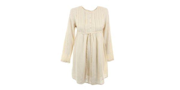 Dámske béžové viskózové šaty Tantra