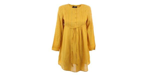 Dámske horčicovo žlté viskózové šaty Tantra