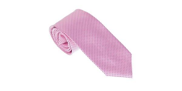 Luxusná ružová kravata s bodkami Castellet Barcelona