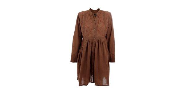 Dámske hnedé košeľové šaty s výšivkou Tantra