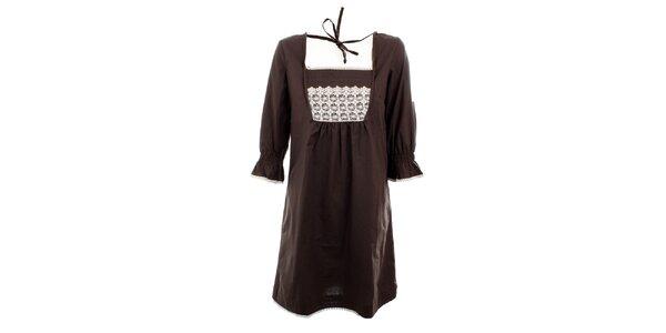 Dámske hnedé šaty Tantra s čipkou v dekolte
