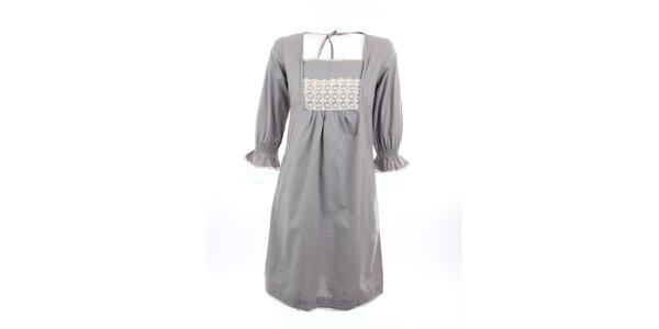 Dámske šedé šaty Tantra s čipkou v dekolte
