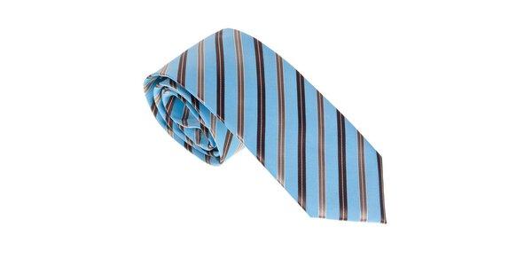 Luxusná modro - hnedá kravata s prúžkom Castellet Barcelona