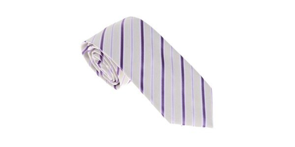 Luxusná krémovo - fialová kravata s prúžkom Castellet Barcelona