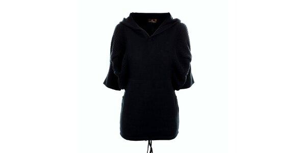 Dámsky čierny dlhý sveter s kapucňou Tantra