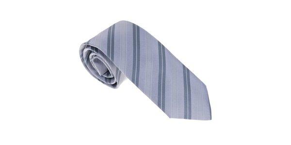Luxusná šedo - modrá kravata s prúžkom Castellet Barcelona