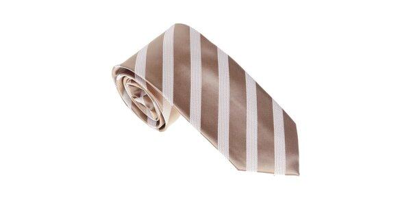 Luxusná zlatavá kravata s pruhom Castellet Barcelona