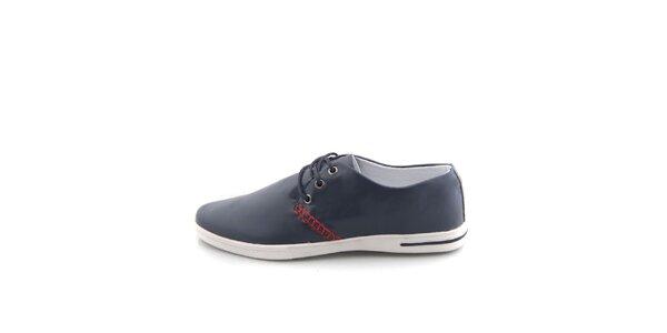 Pánske tmavo modré topánky Tommy Petersen s červeným lemovaním