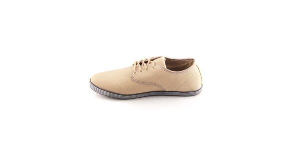 Pánske béžové topánky Tommy Petersen s pruhovanými podrážkami