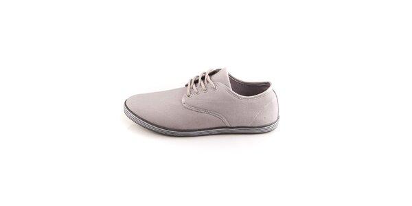 Pánske šedé topánky Tommy Petersen s pruhovanými podrážkami