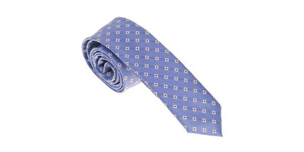 Luxusná svetlo modrá kravata so vzorkou Castellet Barcelona