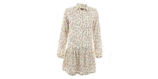 Dámske béžové šaty s romantickou kvetinovou potlačou Tantra