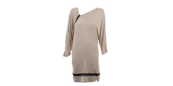 Dámske béžové šaty s čiernymi kamienkami Tantra