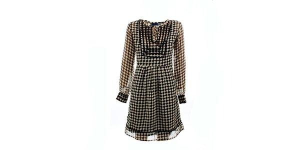 Dámske čierno-biele kockované šaty Tantra