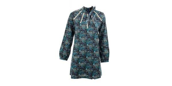 Dámske azurové šaty Tantra s mašľou
