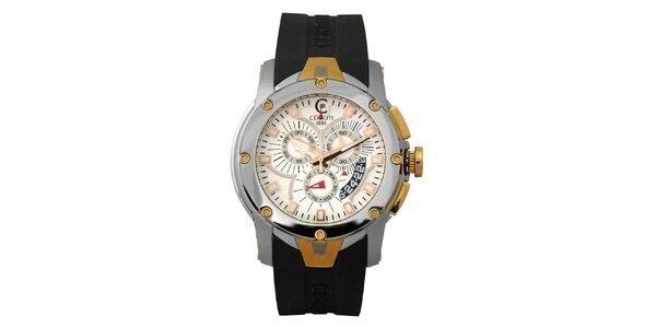 Pánske čierne analogové hodinky s chronografom Cerruti 1881