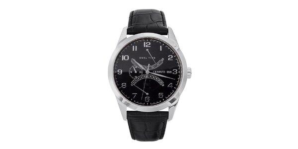 Pánske čierno-strieborné oceľové hodinky s koženým remienkom Cerruti 1881