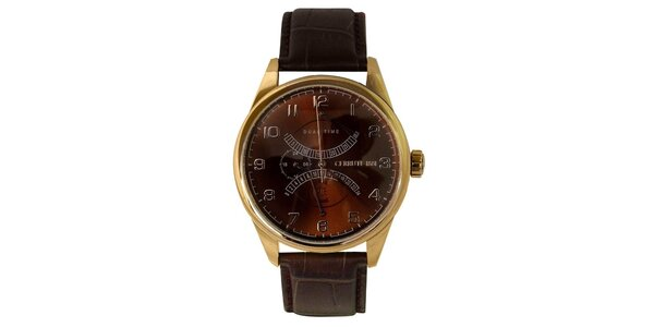 Pánske hnedo-zlaté hodinky s koženým remienkom Cerruti 1881