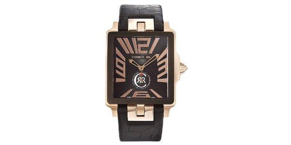 Pánske hnedo-zlaté hranaté hodinky Cerruti 1881