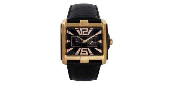 Pánske hranaté zlaté hodinky s kalendárom Cerruti 1881
