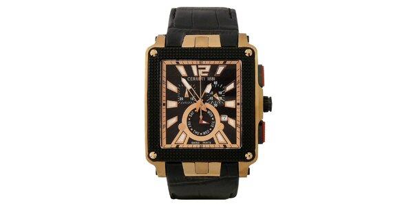 Pánske multifunkčné čierno-zlaté hodinky Cerruti 1881