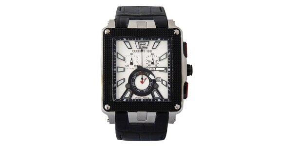 Pánske multifunkčné bielo-čierne hodinky Cerruti 1881