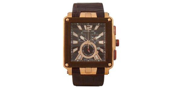 Pánske multifunkčné zlato-hnedé hodinky Cerruti 1881