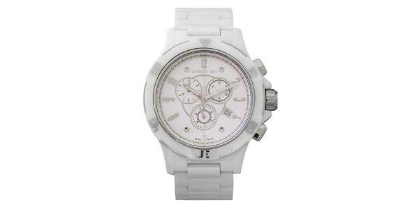 Dámske biele keramické hodinky s chronografom Cerutti 1881