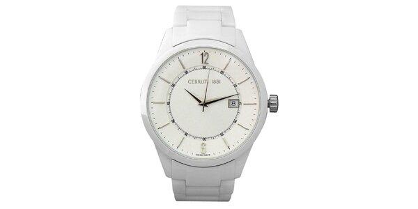 Dámske biele keramické hodinky s dátumovkou Cerutti 1881