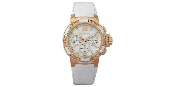 Dámske biele hodinky so zlatými detailmi Cerutti 1881