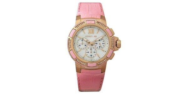 Dámske ružové hodinky so zlatými detailmi Cerutti 1881
