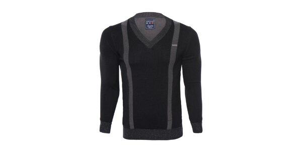 Pánsky čierny sveter s šedými pruhmi Giorgio di Mare