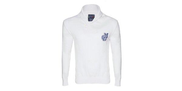 Pánsky biely sveter s gombíkom Giorgio di Mare