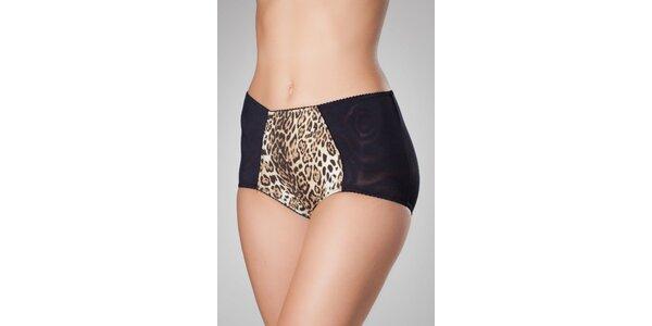 Dámske čierne nohavičky Frankie Morello s leopardiam vzorom