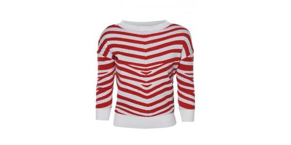 Dámsky červeno-biely sveter s prúžkom Giorgio di Mare