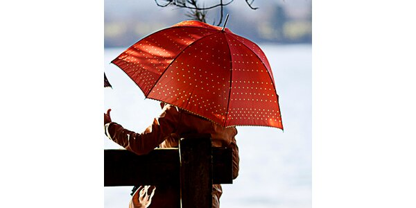 Dámsky oranžový dáždnik s bodkami Alvarez Romanelli