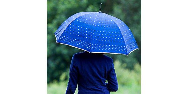 Dámsky modrý dáždnik s bodkami Alvarez Romanelli